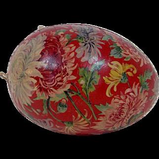 German Easter Egg with Chrysanthemum Design and Dresden Trim