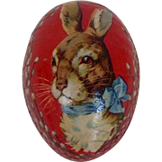 German Easter Egg with Rabbit Head Design and Dresden Trim
