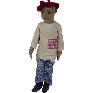 1913 Steiff Male Character Doll Pewter Underscored FF Ear Button