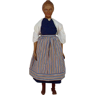 1940's-1950's Unusual Large Wooden Swiss Doll