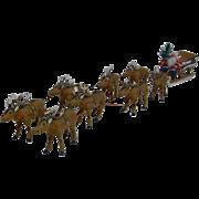 Fabulous German 1920's Santa in Sleigh with Eight Reindeer