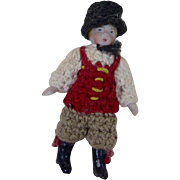 1900's Carl Horn German Bisque Miniature Doll with Crocheted Black Hat