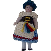 1900's Carl Horn German Bisque Miniature Doll with Crocheted Dress and Black Hat