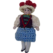 1900's Carl Horn German Bisque Miniature Doll with Crocheted Outfit and Fancy Hat