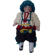 1900's Carl Horn German Bisque Miniature Doll with Crocheted Dress and Blue Feathered Hat