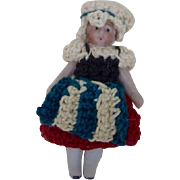1900's Carl Horn German Bisque Miniature Doll with Crocheted White Hat and Traditional Dress