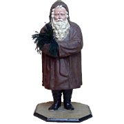 "Early Large 21"" Authentic German Father Nicholas Brown Coat Belsnickel Santa Candy Container"