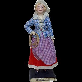 1930's American Made WPA Normandy, France Fisherwoman Figurine