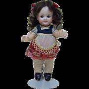 """Early 1900's German Heubach 7.5"""" Googly Cute Brunette Doll"""