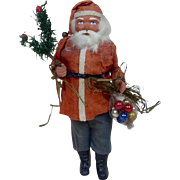 Early Original German Wood Cutter Santa Candy Container