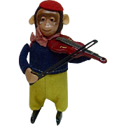 """1950's Schuco 4.5"""" Wind-Up Monkey Playing Violin"""
