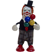 "1950's Schuco 4.5"" Wind-Up Clown Twirling Balloons"