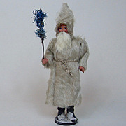 Early German Santa White Mohair Long Coat Candy Container