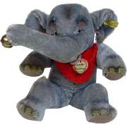 1960's Jointed Jumbo Steiff Elephant with Riveted Button and Stock Tag