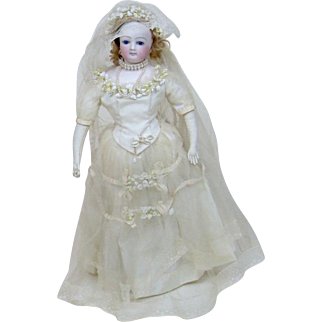 """Turn of the Century 20"""" French Fashion Bride Doll"""