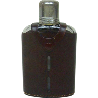"""Vintage 1950's Whiskey Flask with Leather Casing 6.25"""""""