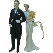 Porcelain Bisque Wedding Cake Topper Bride and Groom