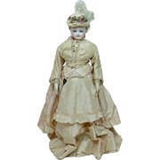 """Turn of the Century French Fashion Doll with Original Silk Dress 16.5"""""""