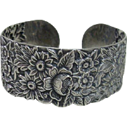 Sterling Silver Cuff Bracelet With Beautiful Flower Design