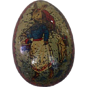 Tiny Tin Lithographed Easter Egg with Rabbit Mom and Child