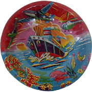 1940's-1950's Wartime Lithographed Tin Bowl with Tropical Scene