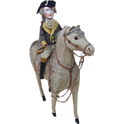 Large Size Rendition of George Washington Riding a Felt Horse Squeaker