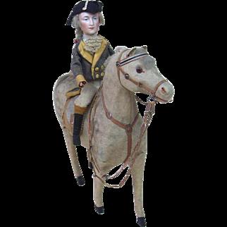 Large Size Rendition of George Washington Riding a Felt Horse Squeaker