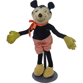 """Dean's Rag Velveteen 15.5"""" Mickey Mouse with Celluloid Googly Eyes"""