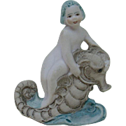 1920's-1930's German Porcelain Bisque Mermaid Riding a Sea Horse