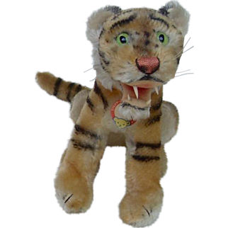 1950's Medium Sized Steiff Bengal Tiger, RSB and Chest Tag