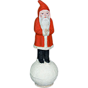 Unusual Early 1900s German Belsnickel Santa Candy Container on Snow Ball