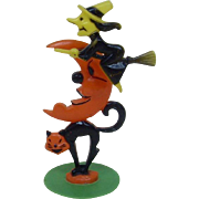 1940's American Plastic Cat and Witch Halloween Figurine