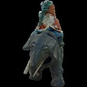 Turn of the Century German Santa Riding a Nodding Elephant Pull Toy