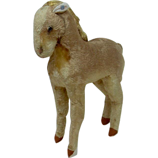 Early Steiff Wartime Plush Horse with Underscored FF Button