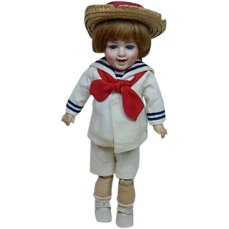 """German Bisque Laughing Heubach Doll with Sailor Outfit 15"""""""