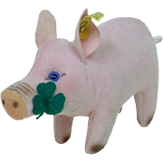 1960's Unusual Steiff Velvet Pig with Four Leaf Clover, RSB and Yellow Tag