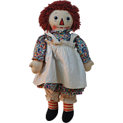Excellent 1930s Georgene Averill Black outline nose Raggedy Ann doll , all original