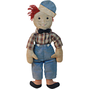 All original very early Volland Raggedy Andy Doll with complete outfit and large Thumbs