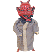 Early 1900s German Cloth Dressed Devil Krampus Paper Mache Squeak toy . Works!!