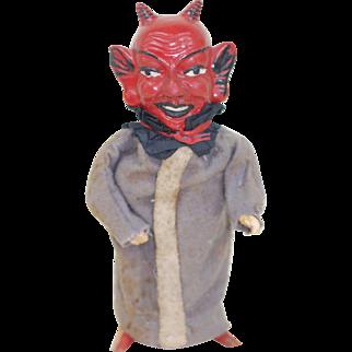 Early 1900s German Cloth Dressed Devil Krampus Paper Mache Squeak toy . Works!!