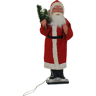 7.5 inch Paper Mache with Felt Clothes Electric Santa Candy Container. 1920s