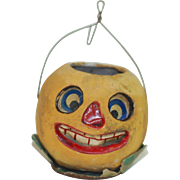 Early Poured Paper Mache Halloween Pumpkin Face Jack-O Lantern, Good Size