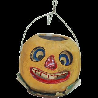 Early Poured Paper Mache Halloween Pumpkin Face Jack-O Lantern, Good Size