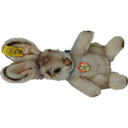 Mint 1960s Original Steiff Standing Bunny Rabbit. All ID with String tag original Bow Button in Ear with Stock tag