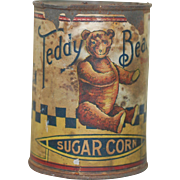 Rare Teddy Bear Brand Sugar Corn Advertising Can. Paper Litho of Bear American Stores Co.