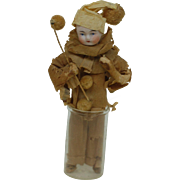 Great Bisque headed Crepe Paper Dressed , Antique Christmas Ornament