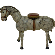 Early Glass Eyes Dappled Schoenhut Circus Horse with Platform saddle
