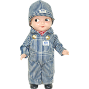 1940s Composition Buddy Lee Advertising Doll Striped Engineers outfit complete Lee Jeans