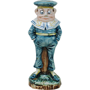 7 Inch Majolica Palmer Cox  Brownie Candle Stick Sailor