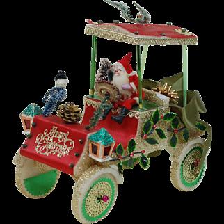 Whimsical Vintage Christmas  Santa Claus Driving a car